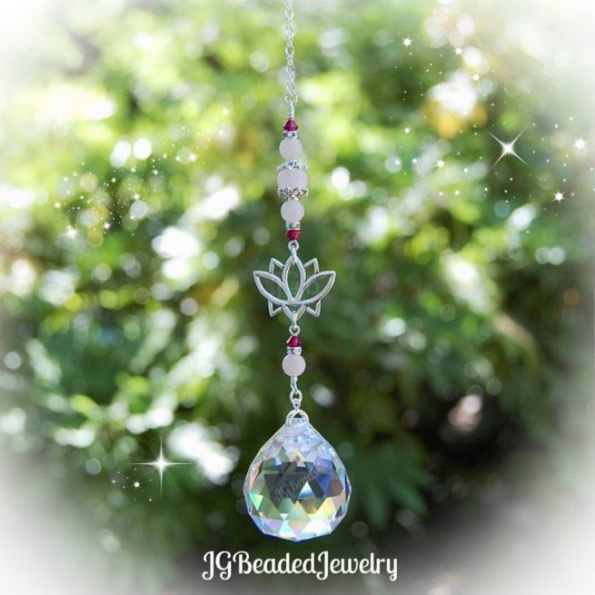Ruby Rose Quartz Lotus Flower Crystal Suncatcher