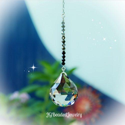 Silver Black Ombre Prism Crystal Suncatcher