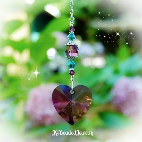 Turquoise Amethyst Heart Swarovski Crystal Suncatcher