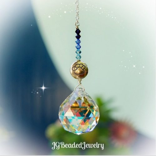 Blue Paw Prism Crystal Suncatcher