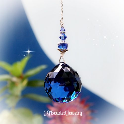 Blue Sapphire Swarovski Crystal Suncatcher
