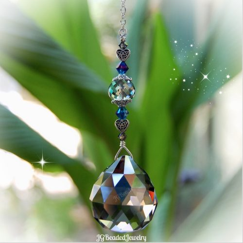 Celtic Heart Iris Silver Prism Crystal Suncatcher