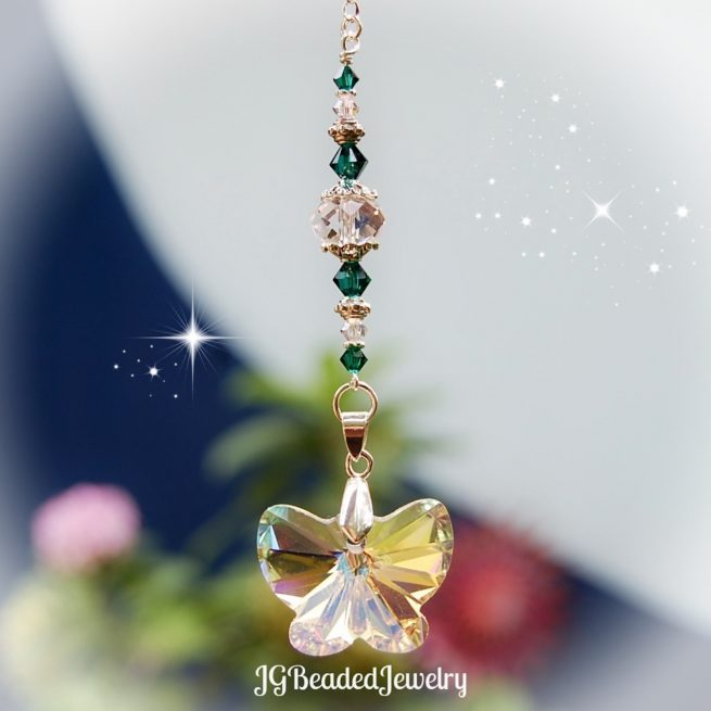 Emerald Green Butterfly Crystal Suncatcher