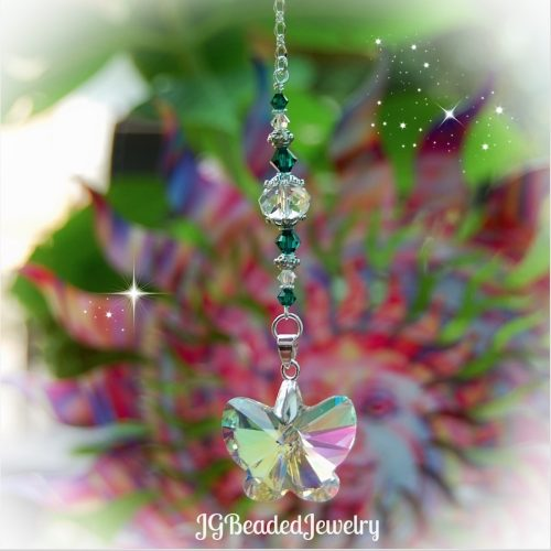 Emerald Green Butterfly Crystal Suncatcher