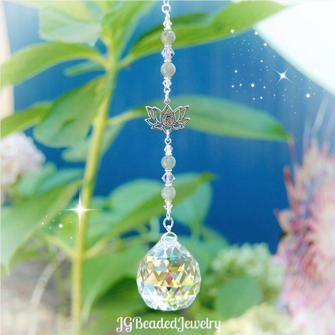 Labradorite Om Lotus Flower Crystal Suncatcher
