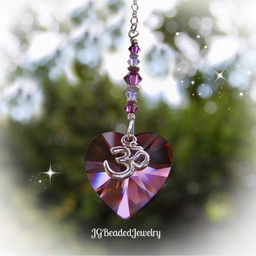 Om Purple Heart Swarovski Crystal Suncatcher