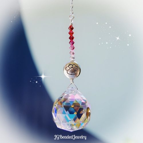 Pink Paw Prism Crystal Suncatcher