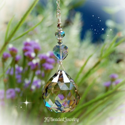 Silver Shade Heart Crystal Suncatcher