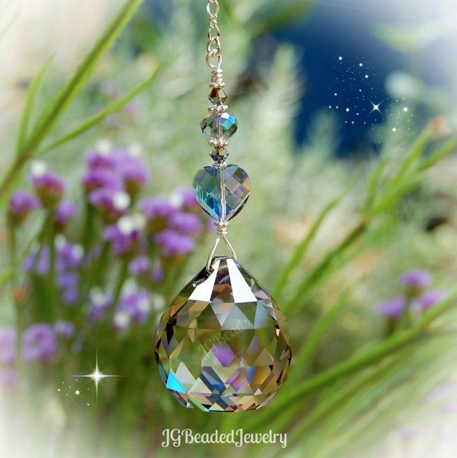 Silver Shade Heart Crystal Suncatcher