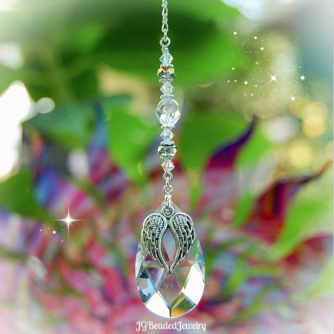 Angel Wings Teardrop Crystal Suncatcher
