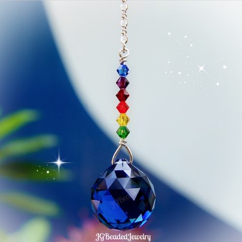 Blue Rainbow Swarovski Crystal Suncatcher