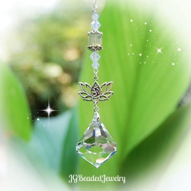 Diamond Opal Lotus Flower Om Swarovski Crystal Suncatcher
