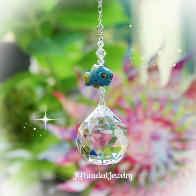 Blue Fish Crystal Suncatcher