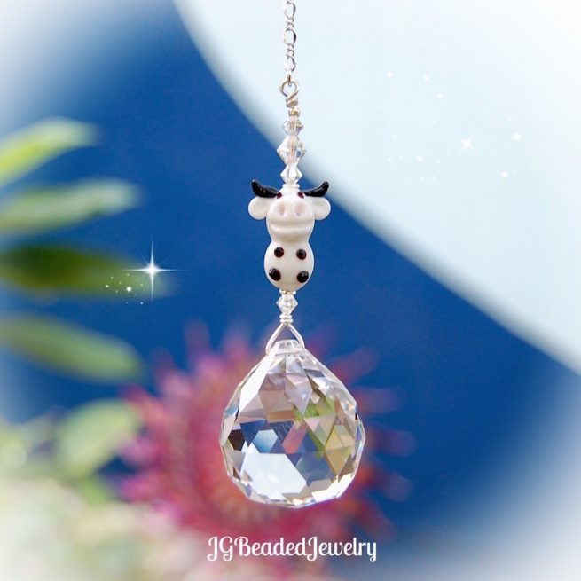 Lampwork Cow Crystal Suncatcher