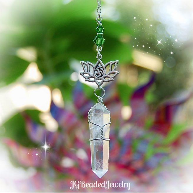 Om Lotus Flower Quartz Crystal