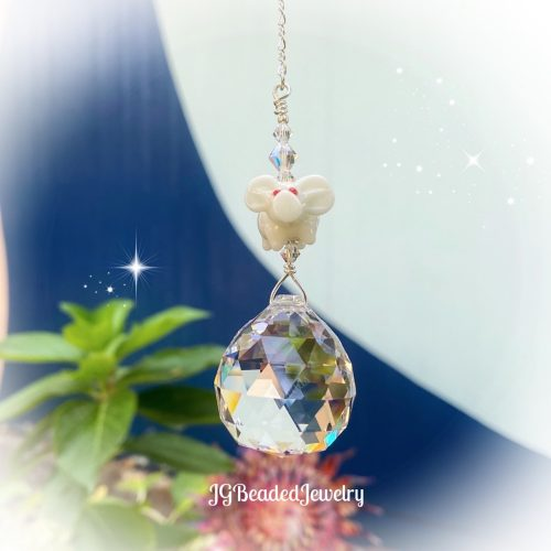 White Pig Crystal Suncatcher