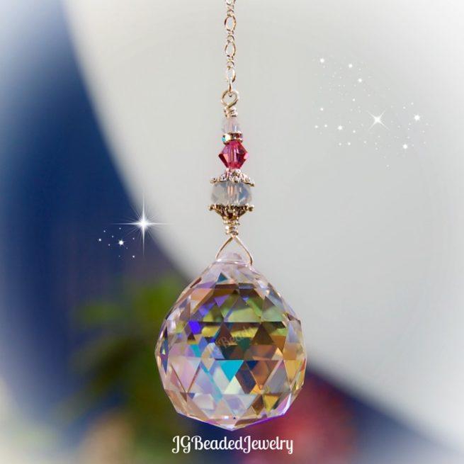 Pink Opal Prism Crystal Suncatcher