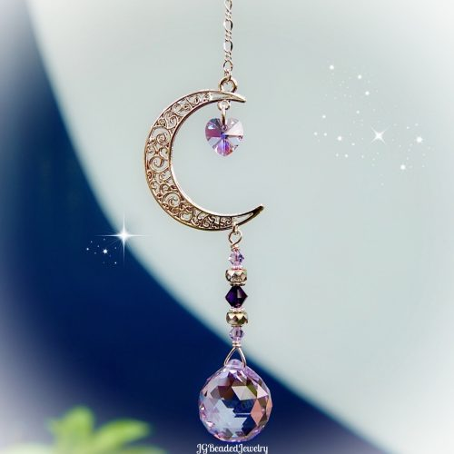 Purple Love You To The Moon And Back Crystal Suncatcher
