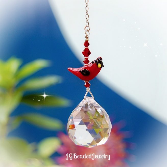 Red Cardinal Bird Crystal Suncatcher