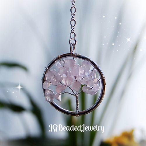 Small Rose Quartz Gemstone Tree of Life