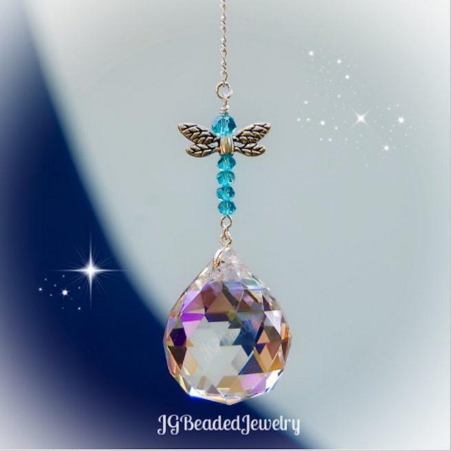 Sapphire Blue Dragonfly Suncatcher
