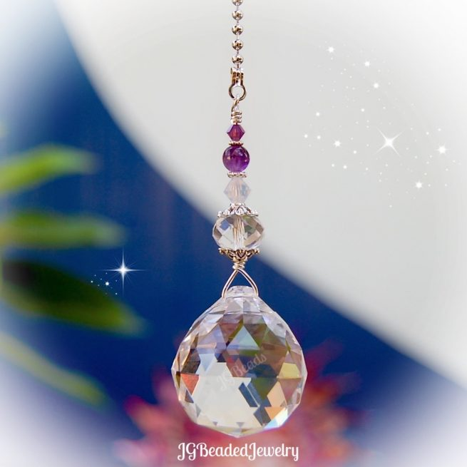 Amethyst Opal Crystal Ceiling Fan Pull Decoration