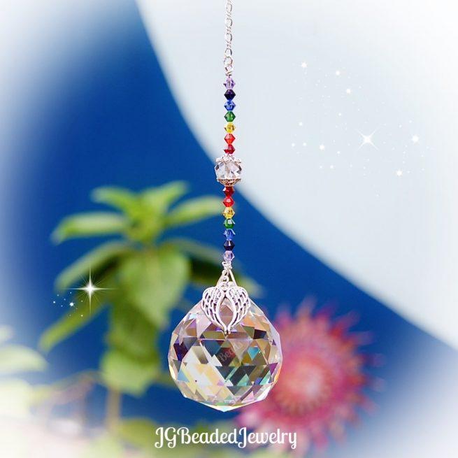 Angel Wing Rainbow Crystal Suncatcher
