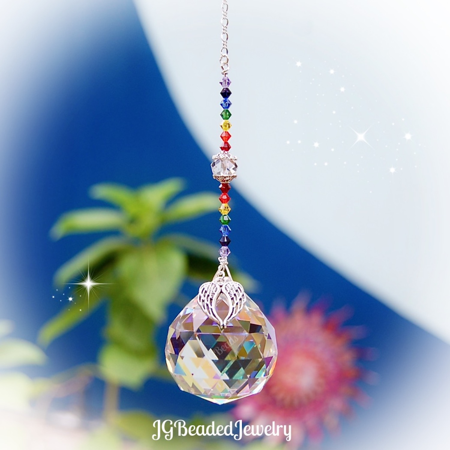 Crystal Suncatcher Rainbow Maker Angel Wing Heart with rose colour glass beads