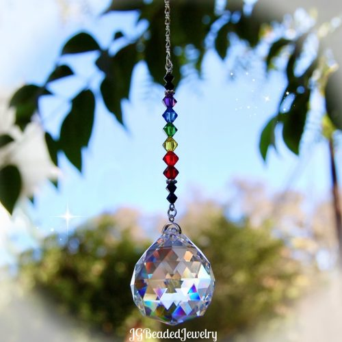 Black Rainbow Prism Crystal Suncatcher