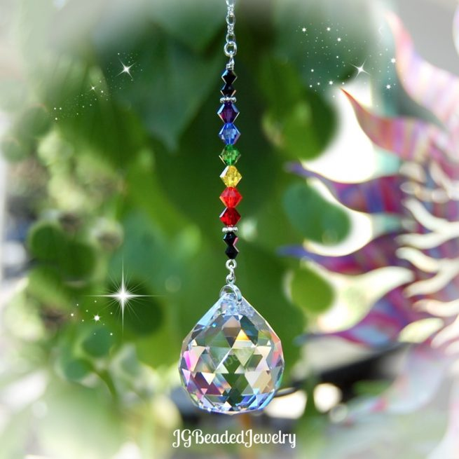Black Rainbow Prism Crystal Suncatcher