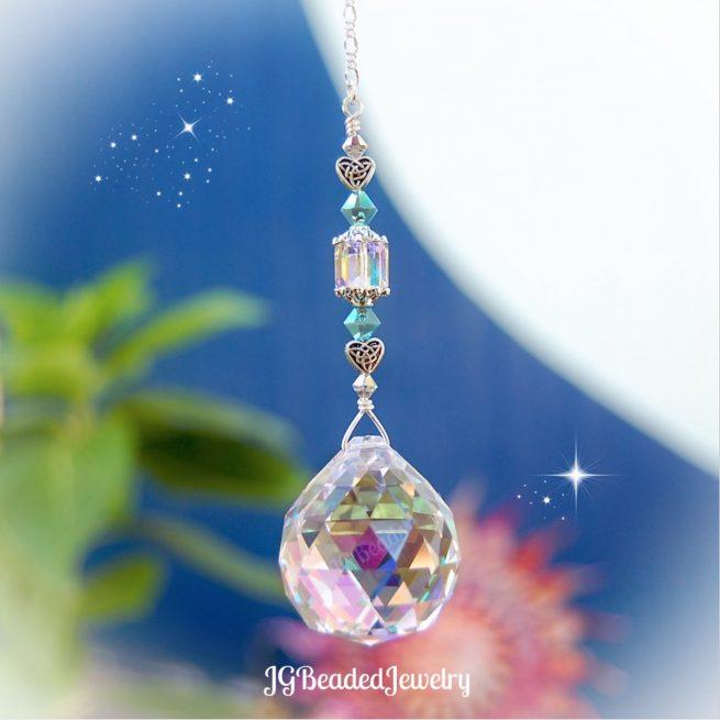 Celtic Heart Turquoise Crystal Suncatcher