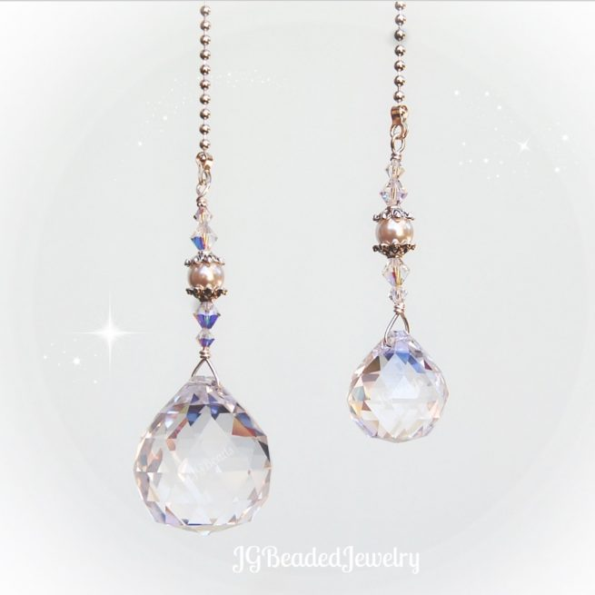 Crystal Prism Light Fan Pull Set With Pearls