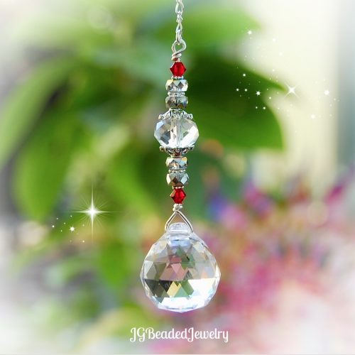 Red Silver Hanging Crystal Prism