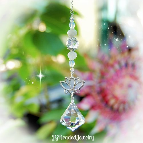 Moonstone Lotus Flower Swarovski Crystal Suncatcher