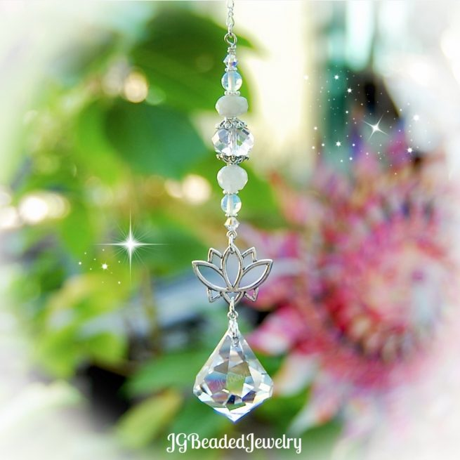 Moonstone Lotus Flower Swarovski Crystal Suncatcher