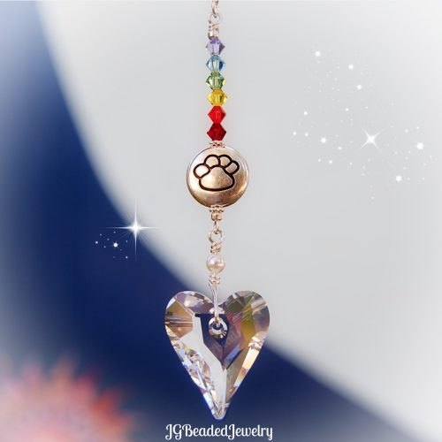 Paw Heart Rainbow Bridge Crystal Suncatcher