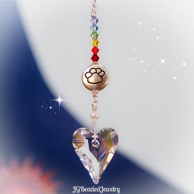 Paw Heart Rainbow Bridge Crystal Suncatcher