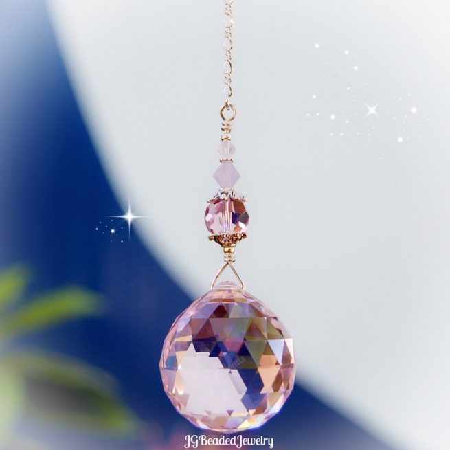 Pink Opal Swarovski Crystal Suncatcher
