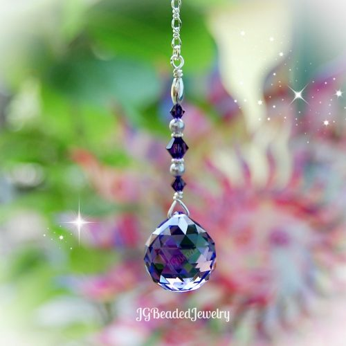 Purple Swarovski Crystal Pearl Suncatcher