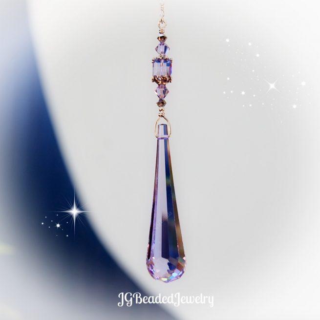Purple Teardrop Swarovski Crystal Suncatcher