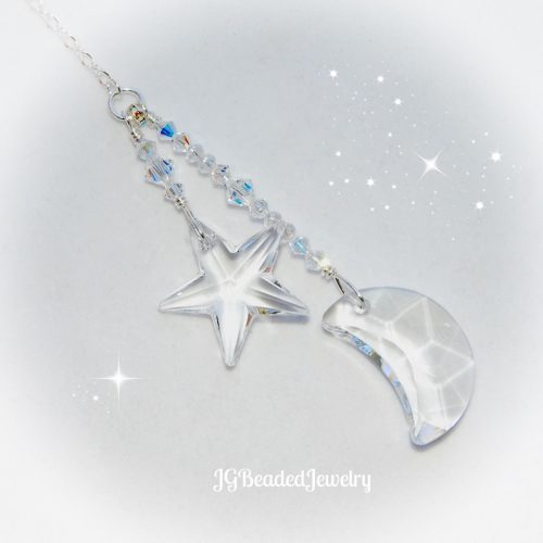 Swarovski Moon and Star Crystal Suncatcher