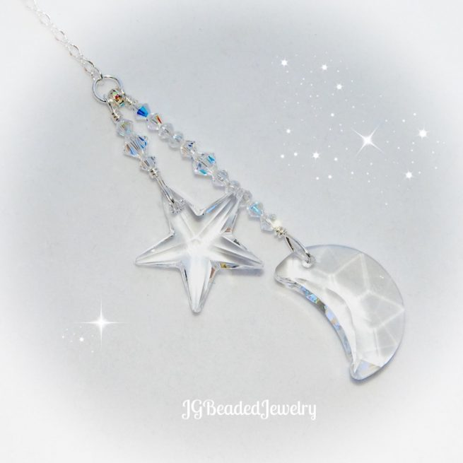 Swarovski Moon and Star Crystal Suncatcher