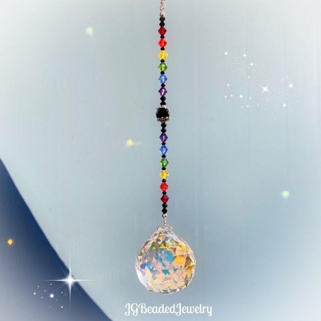 Large Black Rainbow Prism Crystal Suncatcher