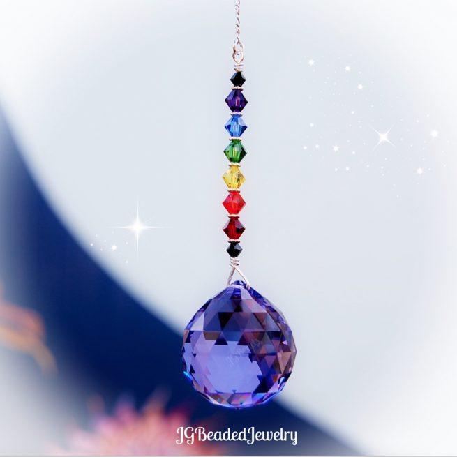 Purple Rainbow Swarovski Crystal Suncatcher