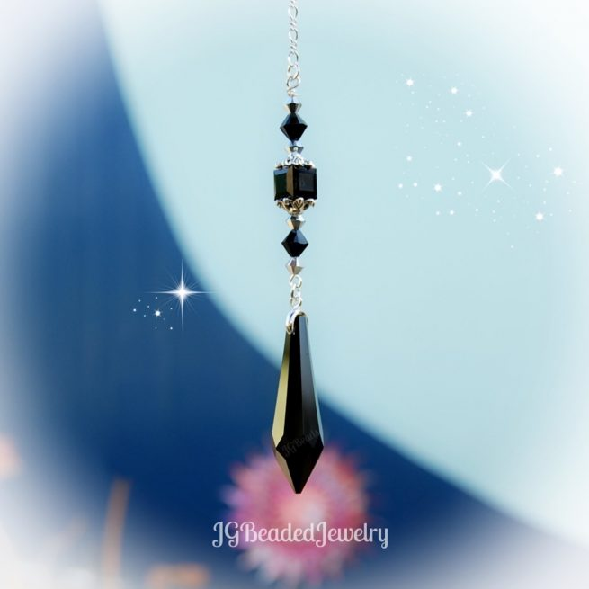 Black Teardrop Swarovski Crystal Suncatcher