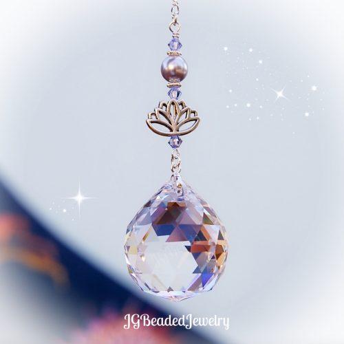Lavender Lotus Flower Crystal Suncatcher