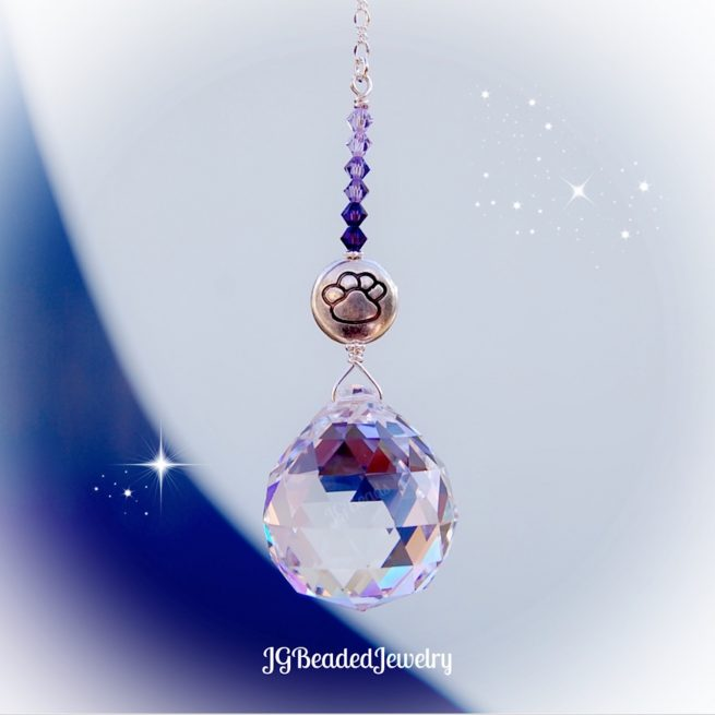 Purple Paw Prism Crystal Suncatcher