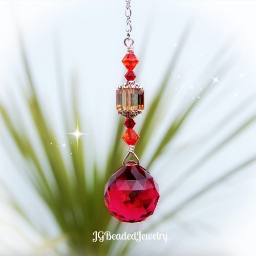 Fire Opal Red Crystal Suncatcher
