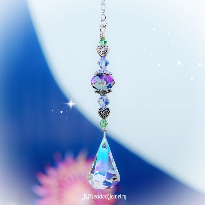 Celtic Heart Swarovski Crystal Suncatcher