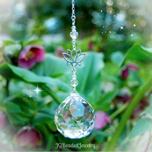 Lotus Flower Crystal Prism Suncatcher
